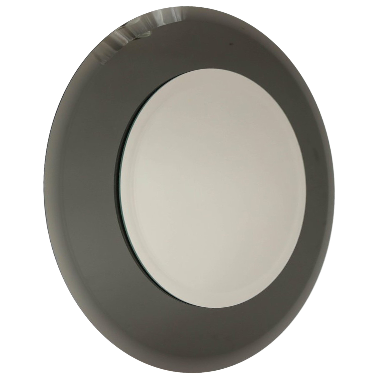 Round Beveled Mirror with Smoke Glass Border