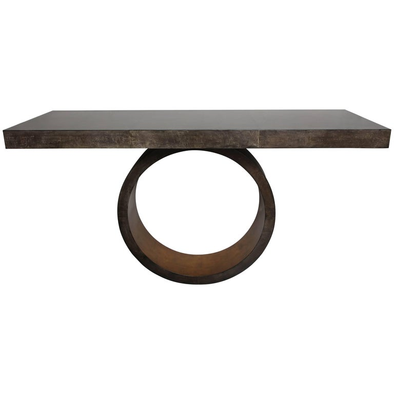 Custom Charcoal Goatskin Console with Umber Gold Leaf For Sale