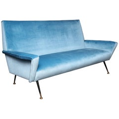 Custom Velvet Settee with Brass Legs