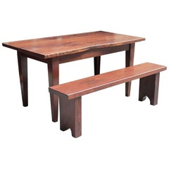 Customizable Live Edge Solid Walnut Farm Table and Bench Combination