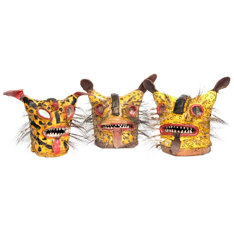 Leather Jaguar Ceremonial Masks from Zitlala Guerrero, Mexico For Sale
