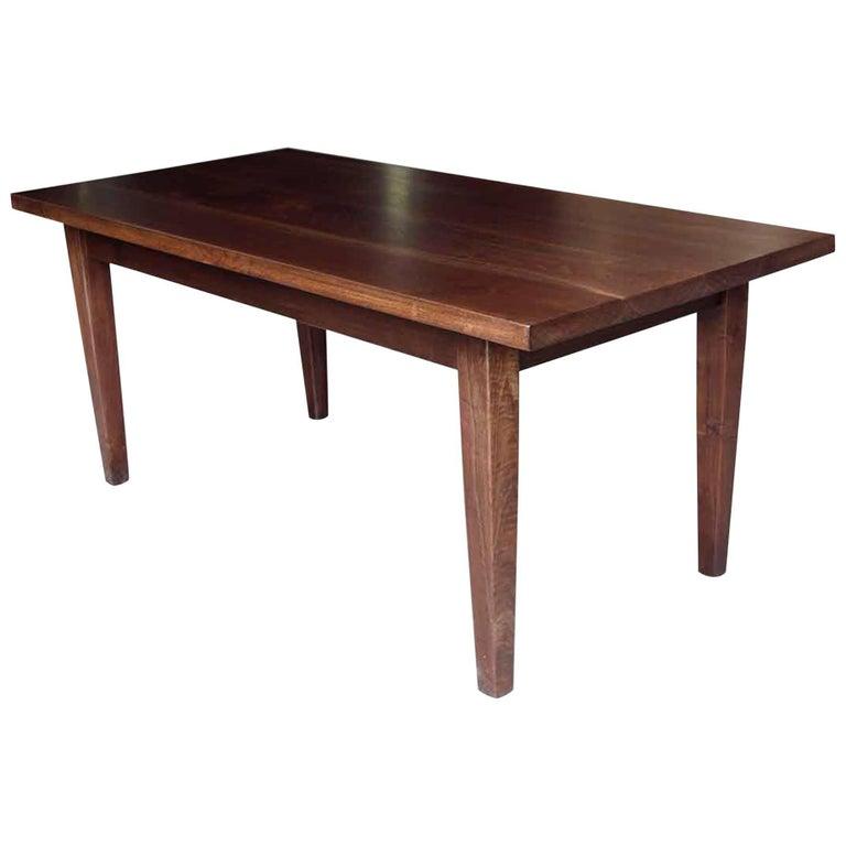 Dark Walnut Farm Table with Tapered Legs