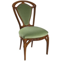 French Art Nouveau Wooden Side Chair by Jacques Gruber