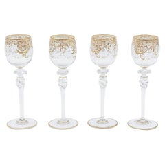 Four Tall Elegant Antique Moser Wine Goblets, Raised Gold & Hand-Painted Florals