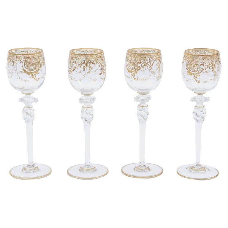 Etched Painted Wine Glasses Art Nouveau Style