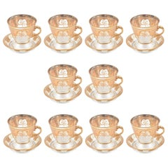 Ten Beautiful Gilt Glass Demi Tasse Cups and Saucers. Antique & Great Condition
