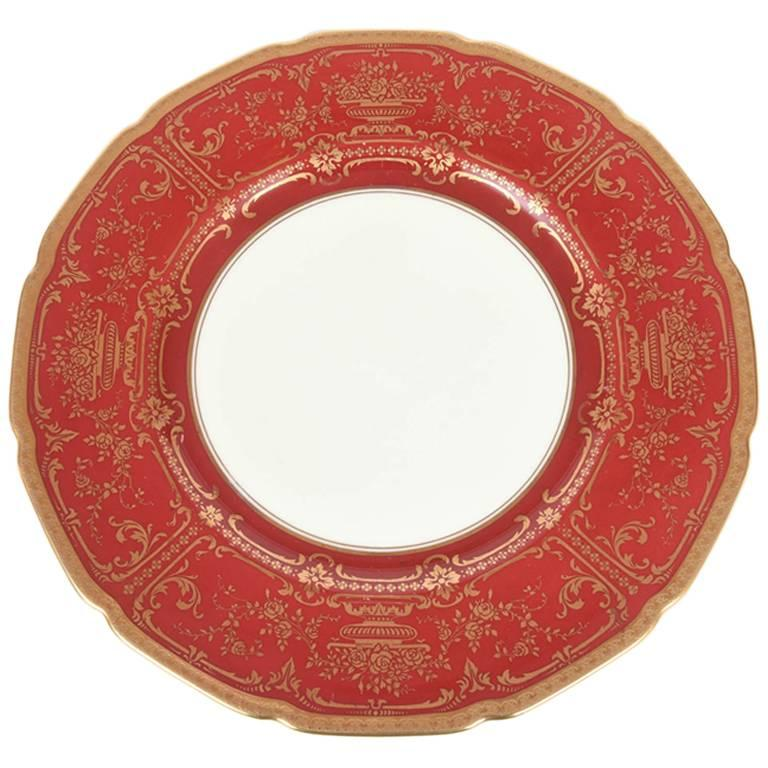12 Antique Dinner Plates Red and Gold by Royal Doulton England For Sale  sc 1 st  1stDibs & 12 Antique Dinner Plates Red and Gold by Royal Doulton England For ...