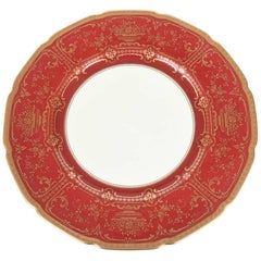 12 Antique Dinner Plates, Red and Gold by Royal Doulton, England