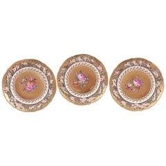 12 Della Robia Style Plates, Capo Di Monte Hand-Painted on Gold Background