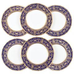 Six Custom for Tiffany Cobalt Blue & Gilt Encrusted Dinner Plates, English