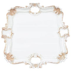 Meissen White Porcelain Large Tray, Hand Gilt Highlights, Perfect for Tea Set