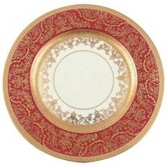 12 Impressive Ruby Red & Gold Encrusted Dinner or Presentation Plates, Antique