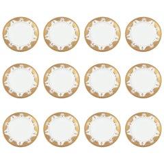 12 Antique English White Gold Embossed Plates, Dinner, Buffet or Dessert