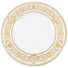 12 Vintage English White Gold Dinner Plates, Classic Gilt Embossed Design