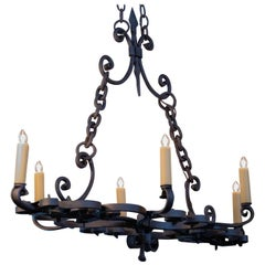 Hand-Forged, Spanish Linear Iron Chandelier , circa 1930