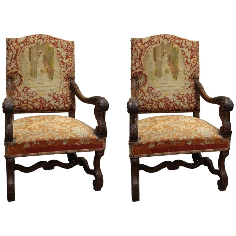 Two 19th Century, French Louis XIV Walnut Needlepoint Armchair 1