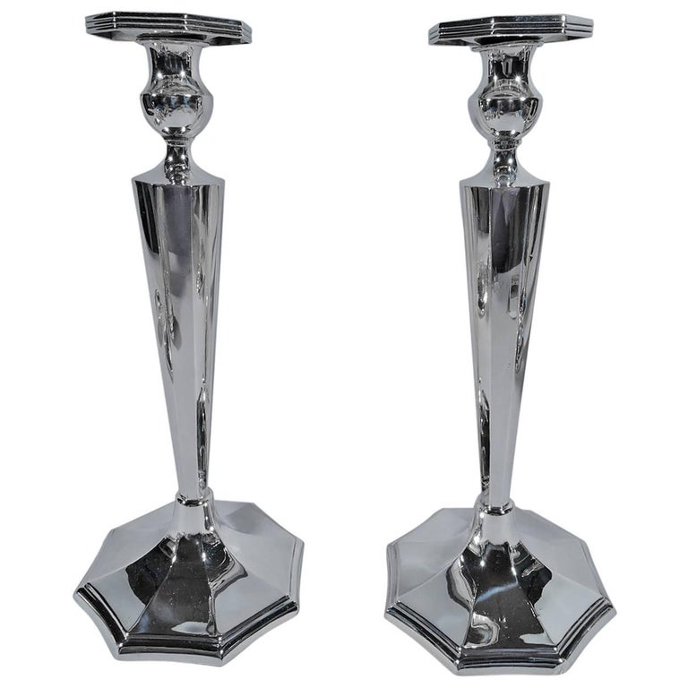 Great Pair of Tall and Modern Sterling Silver Candlesticks