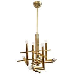 Chandelier in Brass by Gaetano Sciolari, Italy, 1970s