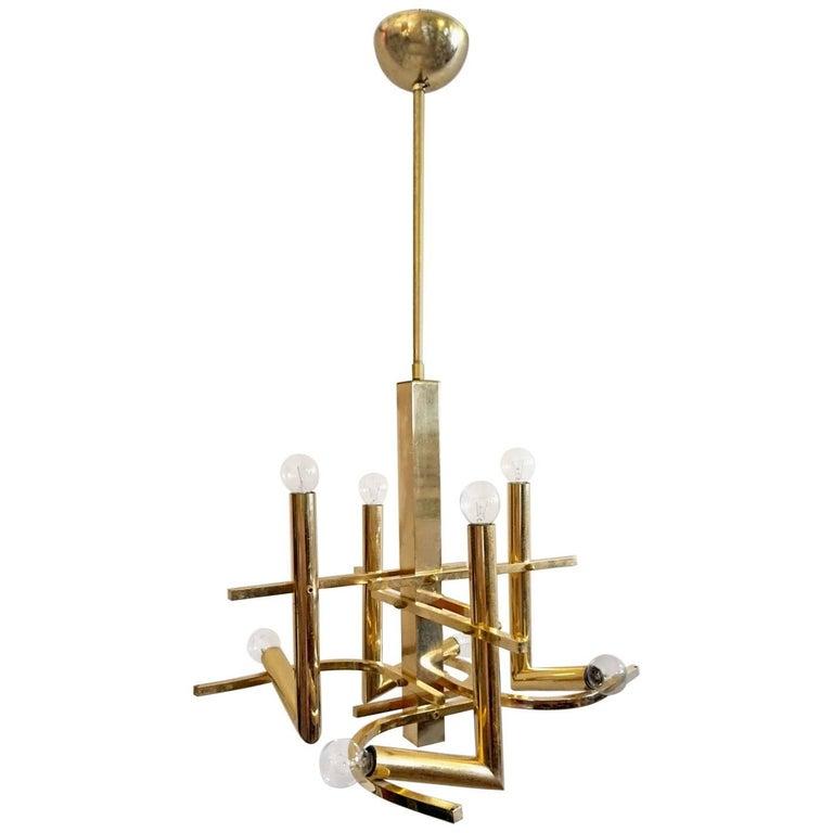 Chandelier in Brass by Gaetano Sciolari, Italy, 1970s