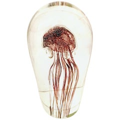 21st Century Organic Modern Blown Glass Cased Jelly Fish Sculpture