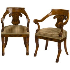 Pair of Consulat Ebony-Inlaid Birchwood Armchairs Stamped Jacob Frères