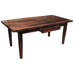 Pine Farm Table with One Drawer and Tapered Legs with Provincial Stain
