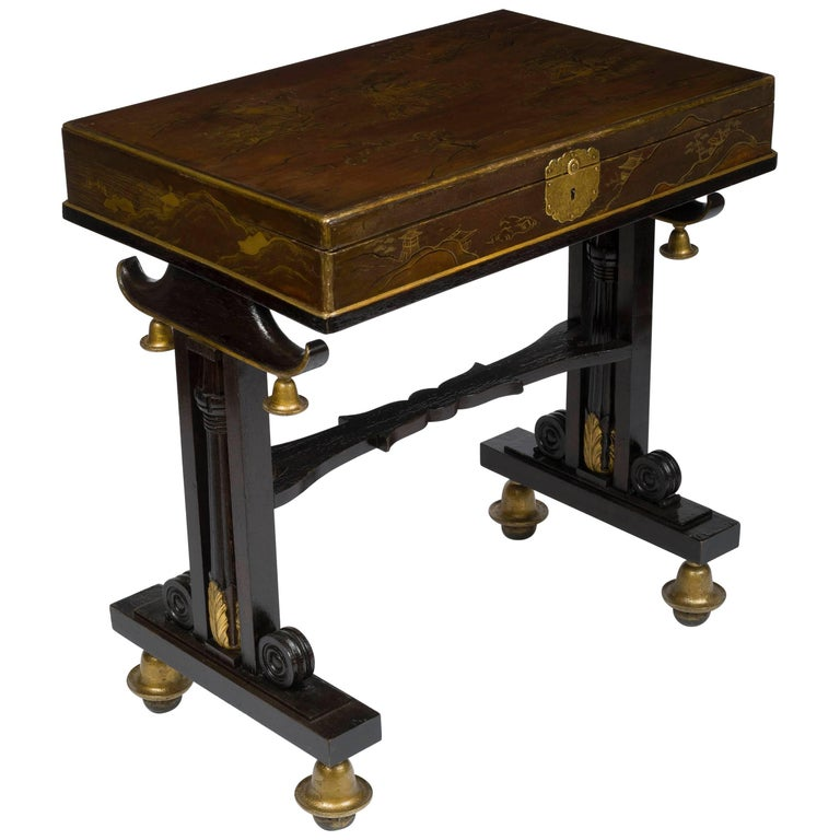 Rare Regency Lacquered Writing Table