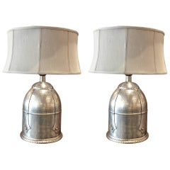 Pair of Silvered Metal Hand-Hammered Lamps
