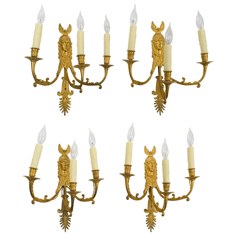 Set of Four Empire Ormolu Three-Light Wall Sconces, Attributed to Ravrio