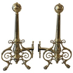 Pair of Polish Brass French Andirons