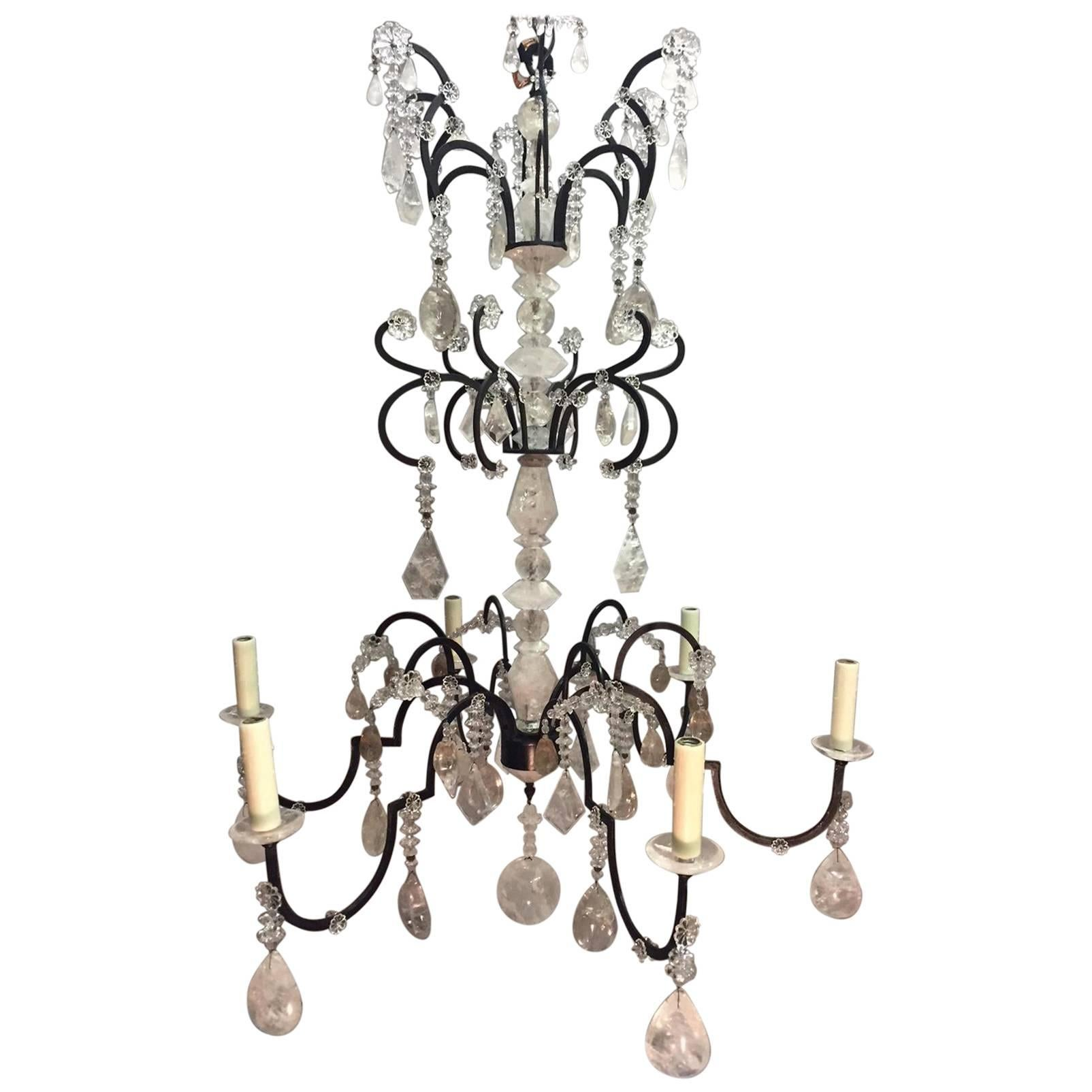 Neoclassical Style Rock Crystal Six-Light Chandelier