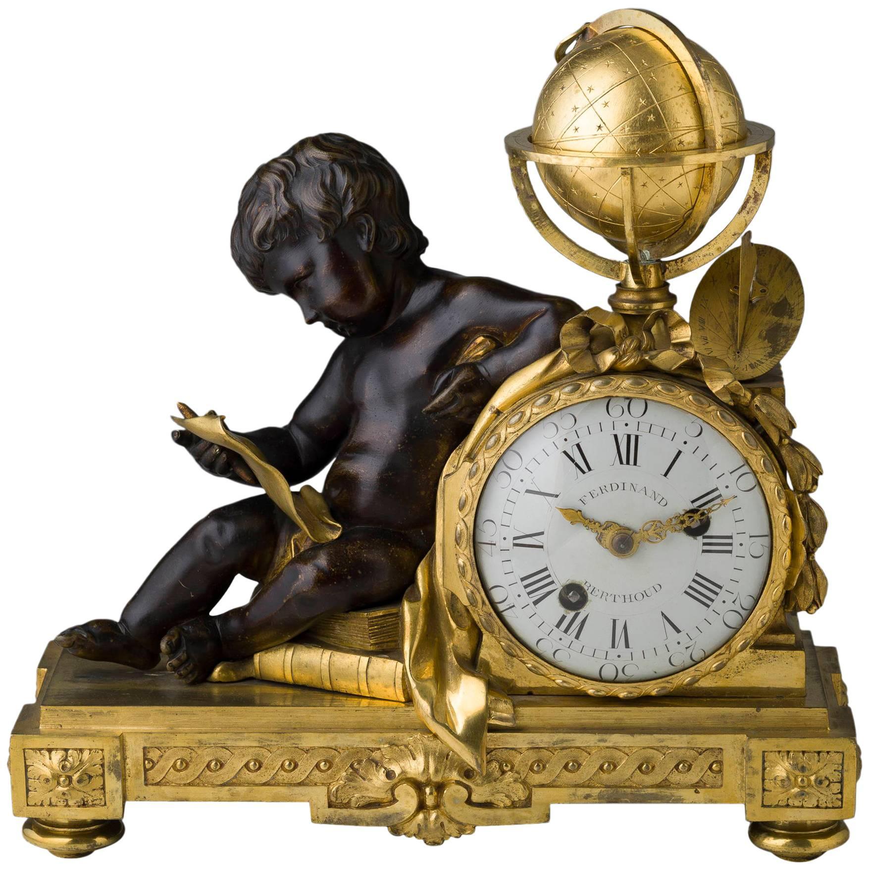 Rare Louis XVI Gilt and Patinated Bronze Mantle Clock Signed Ferdinand Berthoud