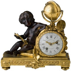 Rare Louis XVI Gilt and Patinated Bronze Mantle Clock Signed Ferdinand Berthoud