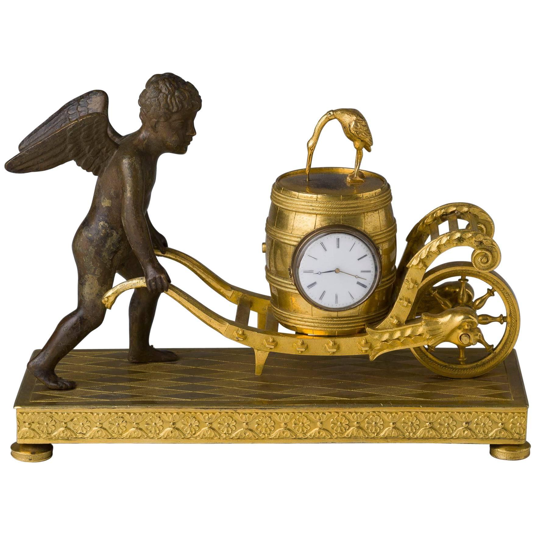 Empire Ormolu and Patinated Bronze Figural Clock