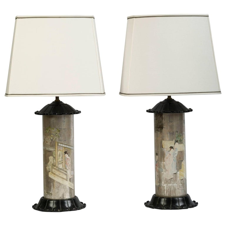 Pair of Chinoiserie Silver-Ground Decalcomania Lamps