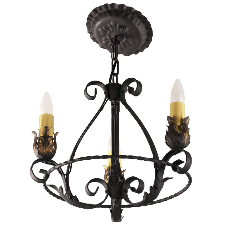 Small Antique 1920s Three-Light Chandelier with Acanthus Motif