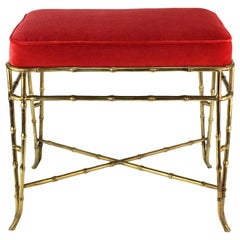 Hollywood Regency Faux Bamboo Bench