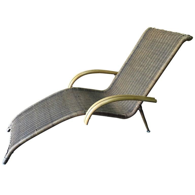 Midcentury Italian Woven Rattan Chaise Lounge, Restored