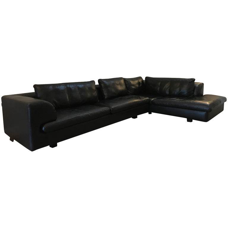 Roche Bobois Black Leather Sectional Sofa