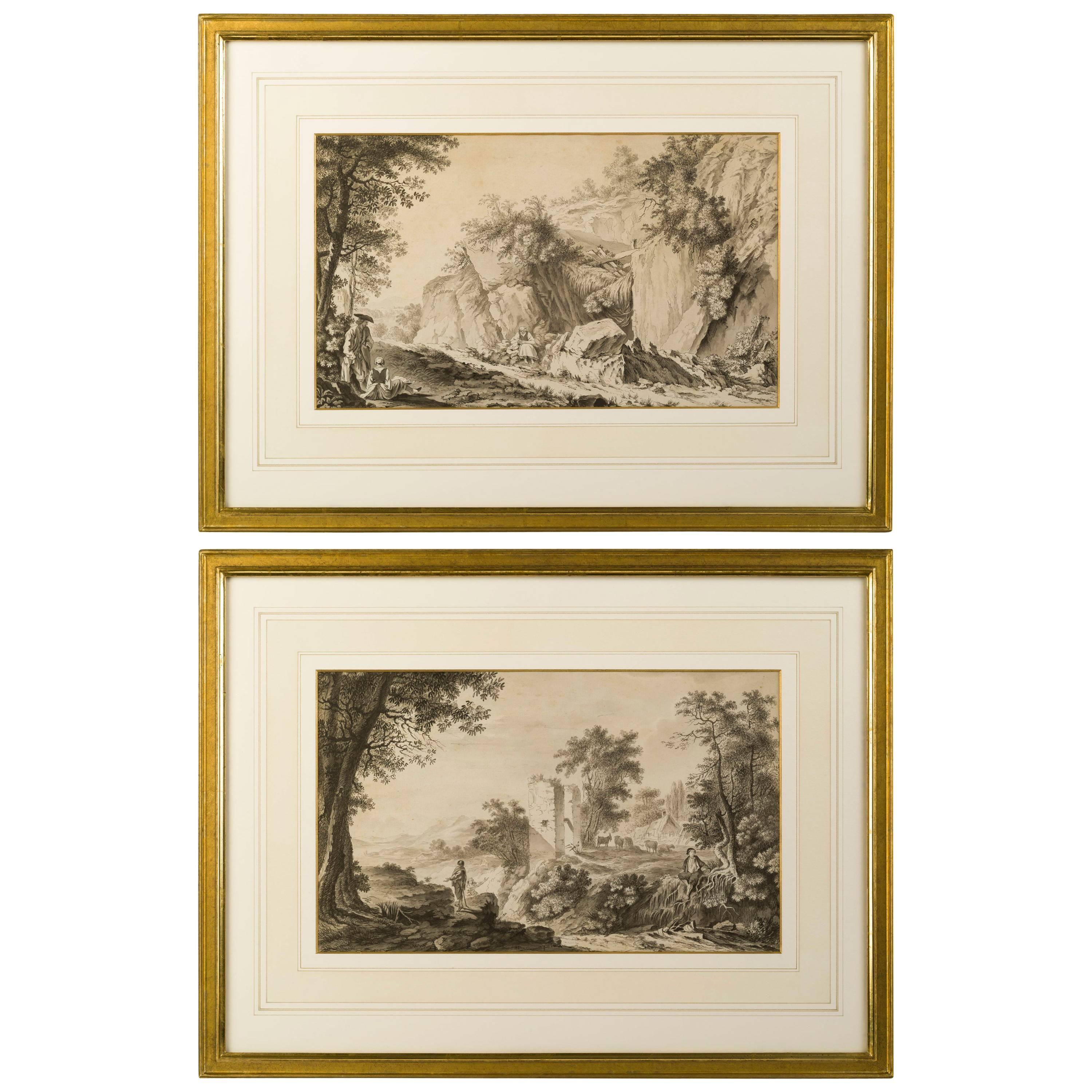 Pair of Neoclassical Landscape Drawings, French School, Late 18th Century