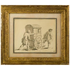 Drawing, 18th Century French School, the Sedan Chair