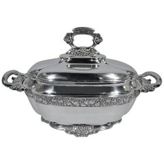 Antique Tiffany Chinese Sterling Silver Soup Tureen with Butler Finish
