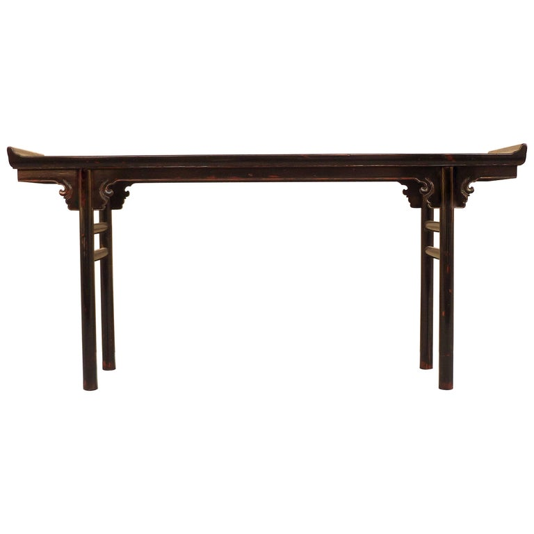 Black Lacquer Console Table or Altar Table