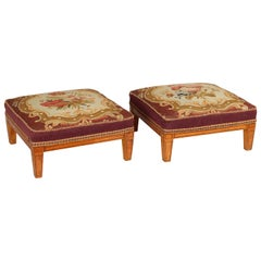 Pair of Late George III Period Satin-Birch Foot-Stools