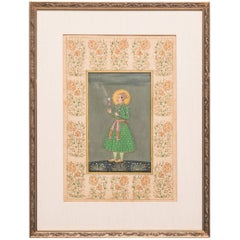 Indian Prince Dressed in Green Miniature Painting