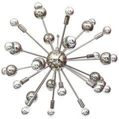 Nickel Silver 24 Bulb Sputnik Vintage Chandelier