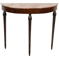 Italian Marble Topped Demilune Console