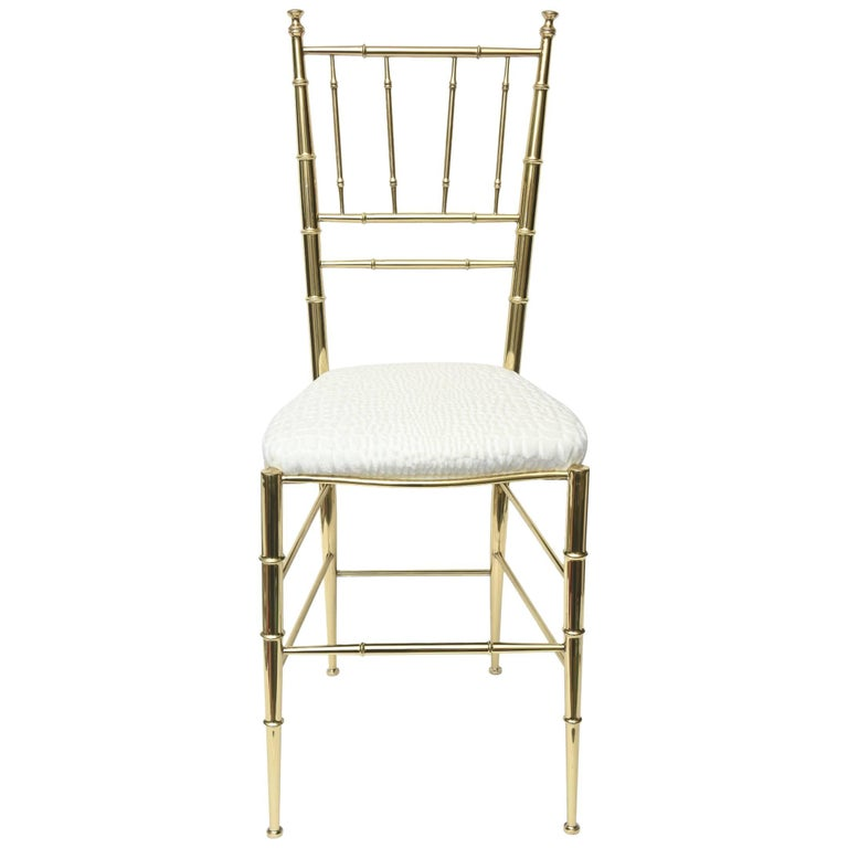 Italian Midcentury Chiavari Faux Bamboo Brass and Upholstered Side Chair