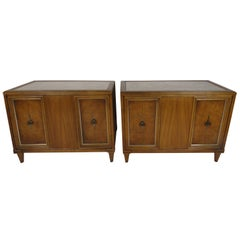 Pair of Midcentury Inlaid Marble and Fruitwood Tables