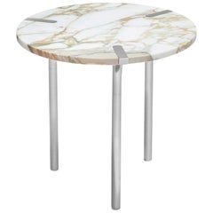 Sereno Side Table or End Table in Calacatta Marble and Satin Silver